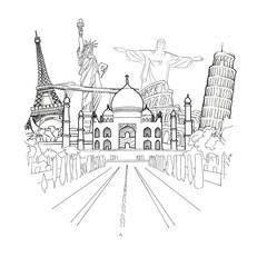 Travel to World Sketch