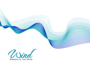 Ribbon in the wind. Abstract blue and green wavy tape on white background. Vector pattern