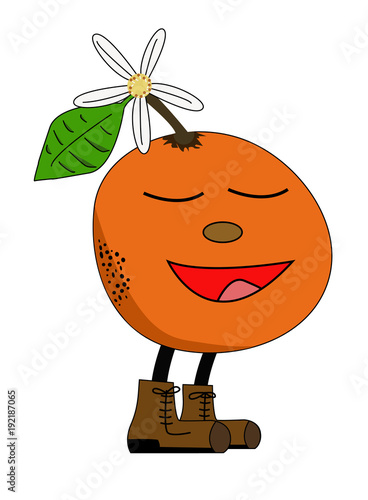 Cartoon of a cute orange smelling and enjoying, with happy face, jasmine flower and big boots. Vector or illustration.