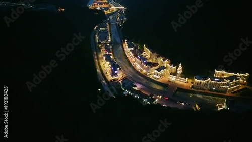 View at night from the air. Rosa Khutor, Krasnaya Polyana. Sochi, Russia, From Dron