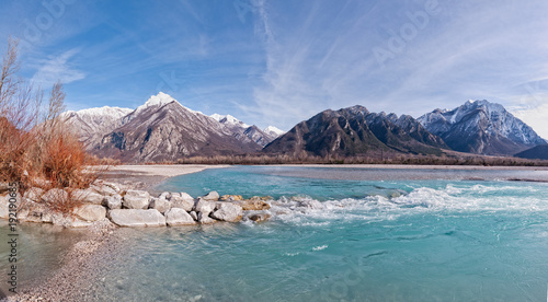 Fotobehang Bergrivier Beauty landscape of mountains and river.