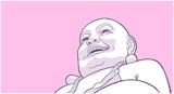 Stylized illustration of Laughing Buddha on pink background - 192190832