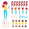 Front, side, back view animated character. Sporty girl character creation set with various views, hairstyles, face emotions, poses and gestures. Cartoon style, flat vector illustration. - 192191248