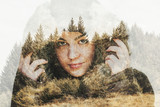 Double exposure portrait of beautiful woman with trees   - 192193663