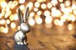 Leinwanddruck Bild - Kleiner goldener Hase