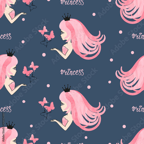seamless-princess-pattern-with-beautiful-girls-and-butterflies-on-dark-blue