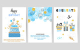Happy Birthday cards set in blue and golden colors. Celebration vector templates with birthday cake and gifts. - 192205408