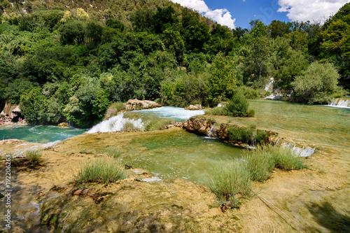 Fotobehang Bergrivier Wodospady Krka, Chorwacja