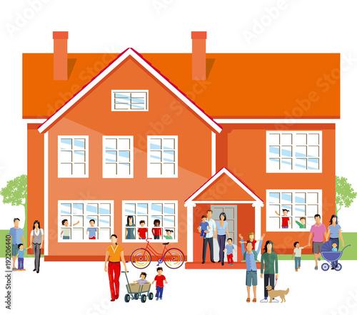 Kindergarten mit Eltern und Familie