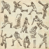 Cricket sport collection. Cricketers. Full sized hand drawings on old paper. - 192206881