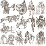Wild West, American frontier and Native Americans - An hand drawn collection. Line art on white. Isolated. - 192207052