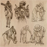 Wild West and Native Americans - An hand drawn vector pack. Line art collection. - 192207221