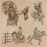 Wild West and Native Americans - An hand drawn vector pack. Line art collection. - 192207667