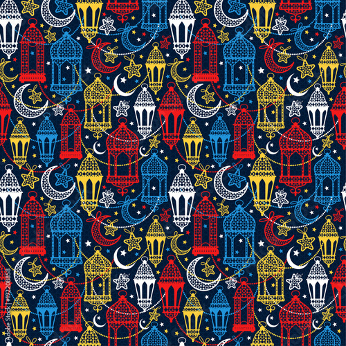 Seamless pattern of Ramadan Kareem lanterns. Happy Ramadan background celebration.