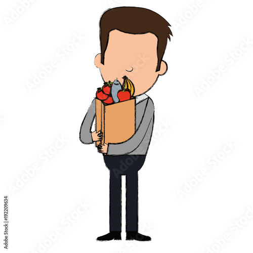 customer with shopping supermarket bag character vector illustration design