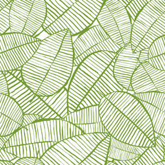 Vector seamless watercolor leaves pattern. Green and white spring background. Trendy floral design for fashion textile print. Nature organic illustration.