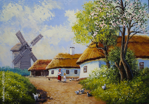 Rural oil paintings landscape, river,  village, house © yaroslavartist