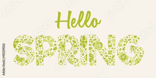 Spring is coming - vintage banner with hand drawn flowers. Vector. - 192219026