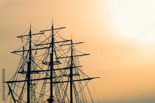 Keuken foto achterwand Schip A part of a sailing ship, the masts of a ship, the sea