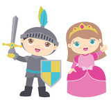 Cute Little Boy Knight and Girl Princess Vector Illustration Isolated on White