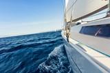 Close-up of sailing yacht