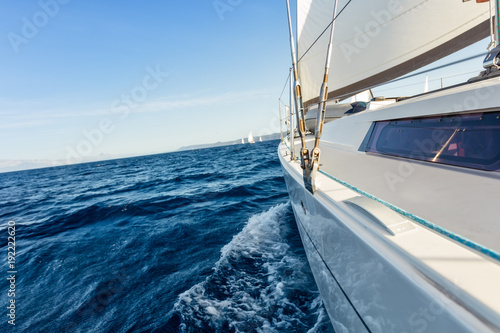 Close-up of sailing yacht