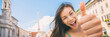 Quadro Happy travel fun Asian tourist girl doing thumbs up in Rome vacation, Italy. Europe summer vacation woman banner panorama.