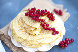 Thin sweet pancakes. traditional Russian food in the spring. Festive treat. Homemade breakfast. Free space for text or a postcard. - 192226464