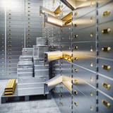 bank safe and boxes with gold 3d illustration - 192227239
