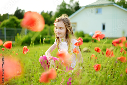 Adorable little girl admiring the poppy flowers in a garden