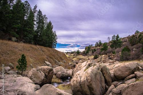 Fotobehang Diepbruine Castlewood Canyon, Colorado