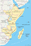 East Africa region, political map. Area with capitals, borders, lakes and important rivers. Easterly region of the African continent, also called Eastern Africa. English labeling. Illustration. Vector - 192234692