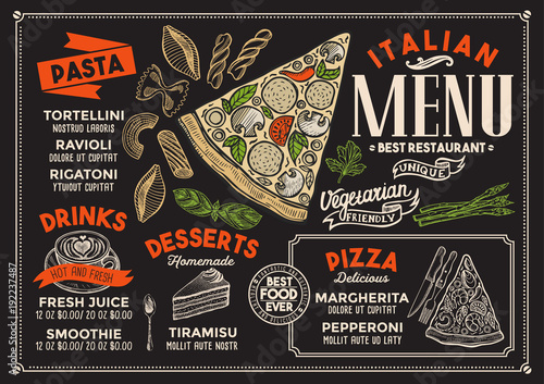Pizza restaurant menu. Vector food flyer for bar and cafe. Design template with vintage hand-drawn illustrations. - 192237487
