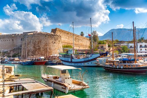 Foto op Aluminium Cyprus Kyrenia harbour overlooked by the castle. Kyrenia, Cyprus