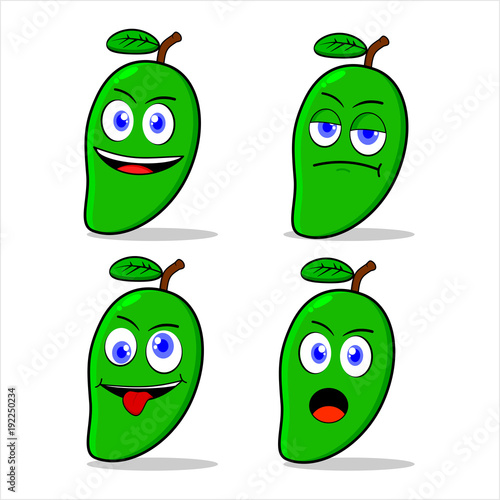 green mango character illustration - expression pack - 192250234