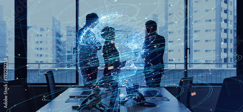 Global business concept. Silhouettes of business person and communication network.