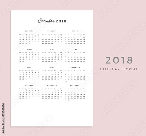 2018 vector calendar template 2018 simple planner new year schedule calendar minimal stationery