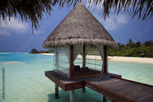 Foto op Canvas Tropical strand The Maldives. Paradise rest. Beautiful seascape. Place for relaxation.