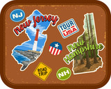 New Jersey, New Hampshire travel stickers with scenic attractions and retro text on vintage suitcase background - 192272261