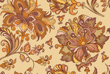 seamless ornament with pastel  golden flowers  - 192274282