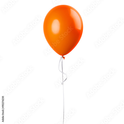 Orange balloon isolated on a white background. Party decoration for celebrations and birthday