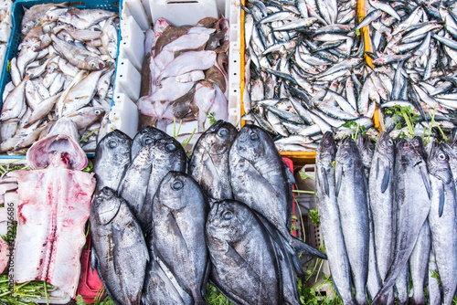 Staande foto Marokko Freesh fish in crates at local food market in Africa