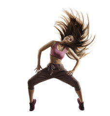 Fitness Woman Sport Dance, Girl with Flying Hair Dancing Breakdance, Freestyle Dancer Isolated on White Background
