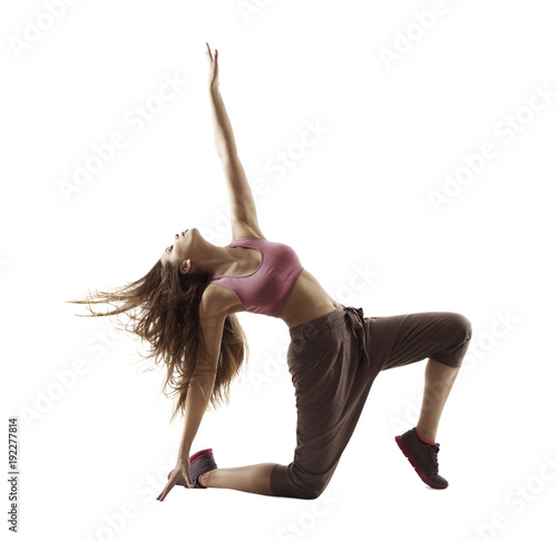 Sticker Fitness Woman Sport Dance, Girl Dancing Breakdance Gymnastic, Bending Freestyle Dancer White Isolated
