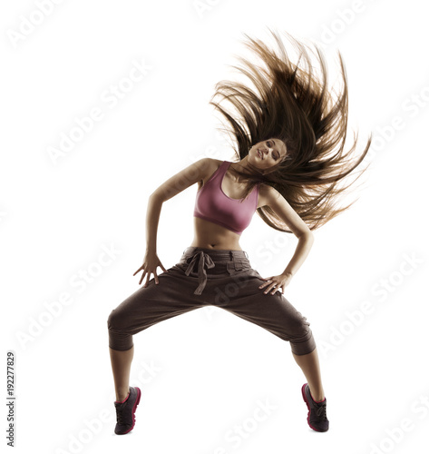 Fitness Woman Sport Dance, Girl with Flying Hair Dancing Breakdance, Freestyle Dancer Isolated on White Background - 192277829
