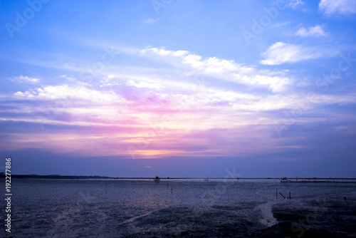 Foto op Canvas Zee zonsondergang Colorful sky after sunset with sea beach background