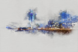 Watercolor painting of the Media Harbor at Rhine-River with Rhine-Tower. City sketch.. - 192279006