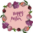 Happy Easter card with peony, Illustration of Easter background  - 192283087