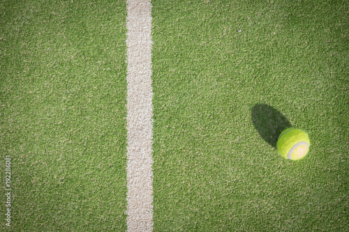 Fotobehang Tennis Paddle tennis court and ball