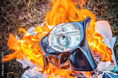 vinyl record burns bright orange flame